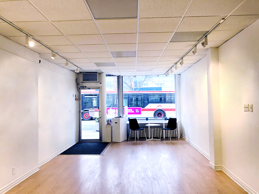 Empty Arts Etobicoke Gallery facing the front dor and empty picture window
